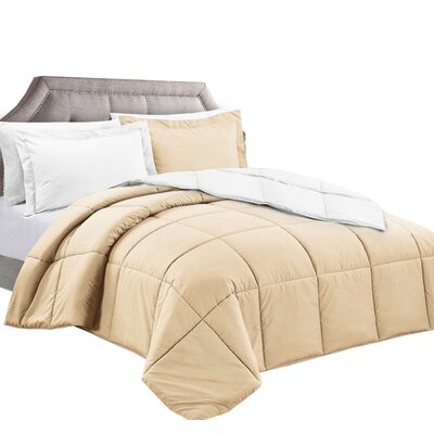 3 Piece Reversible Comforter Set Color: White/Cream, Size: Twin/Twin XL