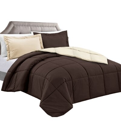 3 Piece Reversible Comforter Set Color: Brown/Cream, Size: Full/Queen