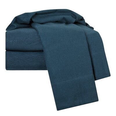 100% Egyptian-Quality Cotton Flannel Sheet Set Size: Queen, Color: Navy Blue