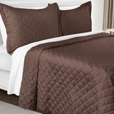 3 Piece Quilt Set Color: Chocolate Brown, Size: King