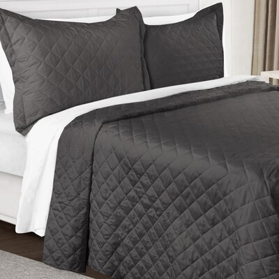 3 Piece Quilt Set Color: Charcoal Gray, Size: King