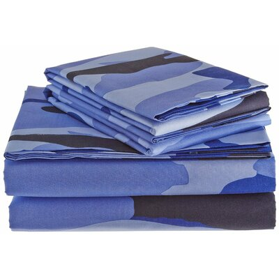 Clara Clark Camouflage Design Sheet Set Size: Full/Double, Color: Blue