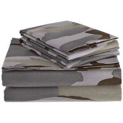 Clara Clark Camouflage Design Sheet Set Size: Queen, Color: Gray