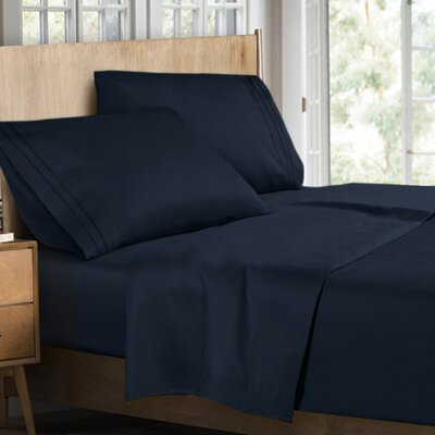 Supreme Sheet Set Color: Navy Blue, Size: Queen
