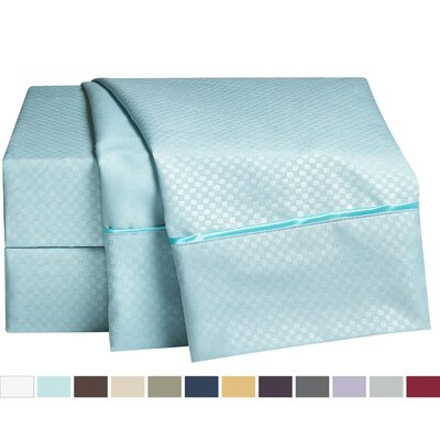 Embossed Checkerboard Design 820 Thread Count Sheet Set Color: Aqua Light Blue, Size: Queen