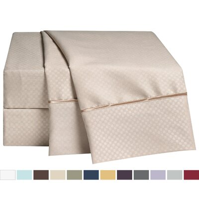 Embossed Checkerboard Design 820 Thread Count Sheet Set Color: Cream Beige, Size: Queen
