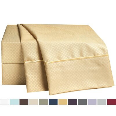 Embossed Checkerboard Design 820 Thread Count Sheet Set Size: Full, Color: Camel Gold