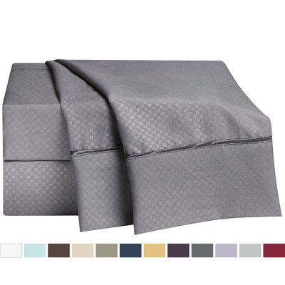 Embossed Checkerboard Design Sheet Set Size: Full, Color: Charcoal Grey
