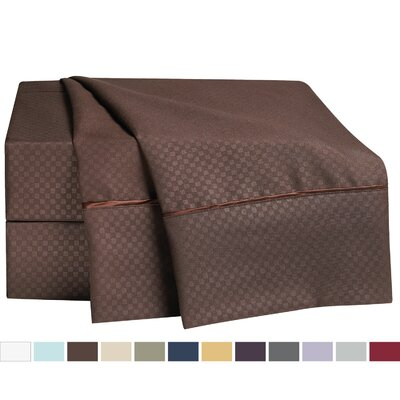 Embossed Checkerboard Design Sheet Set Size: Full, Color: Chocolate Brown