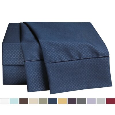 Embossed Checkerboard Design Sheet Set Size: Full, Color: Navy Blue