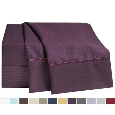 Embossed Checkerboard Design 820 Thread Count Sheet Set Color: Purple Eggplant, Size: Twin