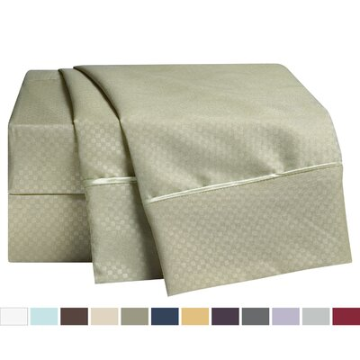 Embossed Checkerboard Design Sheet Set Size: Full, Color: Sage Green