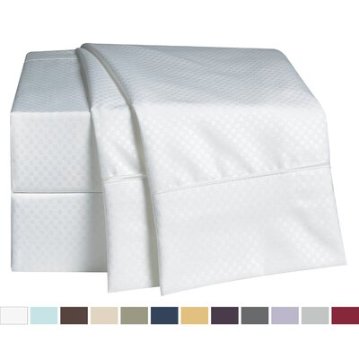 Embossed Checkerboard Design 820 Thread Count Sheet Set Color: White, Size: Queen