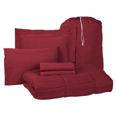 Pax 6 Piece Twin XL Bed-In-A-Bag Set Color: Burgundy