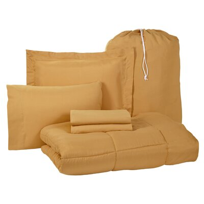 Pax 6 Piece Twin XL Bed-In-A-Bag Set Color: Camel Gold