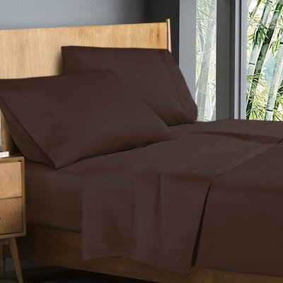 Donellan Sheet Set Size: King, Color: Chocolate Brown