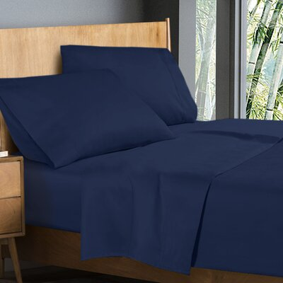 Donellan Sheet Set Size: King, Color: Navy Blue