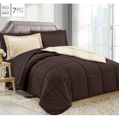 Maritza 7 Piece Queen Reversible Bed-In-a-Bag Set Color: Brown/Cream