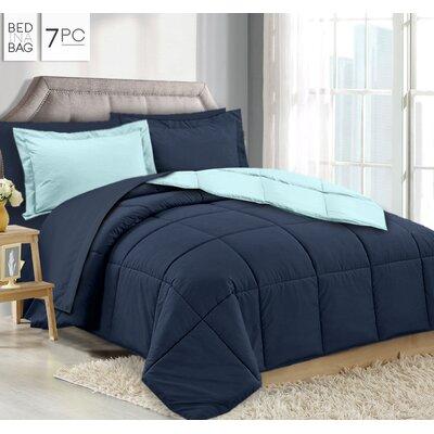 Maritza 7 Piece Queen Reversible Bed-In-a-Bag Set Color: Navy/Aqua
