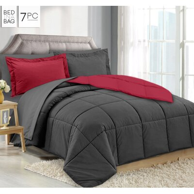 Maritza 7 Piece Queen Reversible Bed-In-a-Bag Set Color: Gray/Red