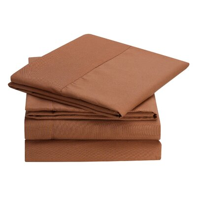 Rylee Hypoallergenic Soft Brushed 4 Piece Sheet Set Color: Brown, Size: Full