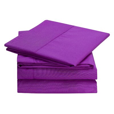 Rylee Hypoallergenic Soft Brushed 4 Piece Sheet Set Color: Purple, Size: Twin