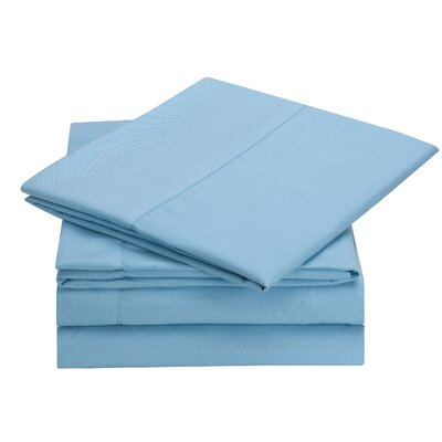 Rylee Hypoallergenic Soft Brushed 4 Piece Sheet Set Color: Blue, Size: Twin