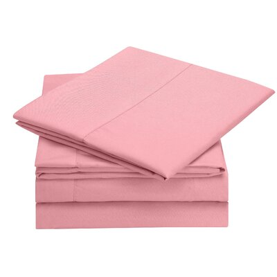 Rylee Hypoallergenic Soft Brushed 4 Piece Sheet Set Color: Pink, Size: Twin XL