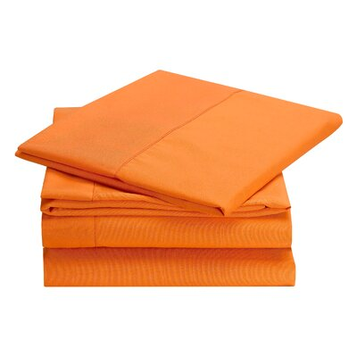 Rylee Hypoallergenic Soft Brushed 4 Piece Sheet Set Color: Orange, Size: Twin