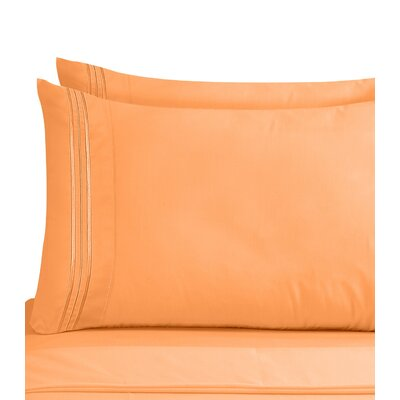 Conway 1800 Thread Count Pillow Case Size: Standard, Color: Apricot Orange