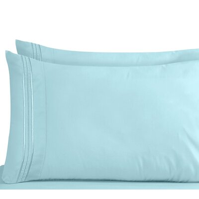 Lizzie 1800 Thread Count Pillow Case Size: King, Color: Light Blue