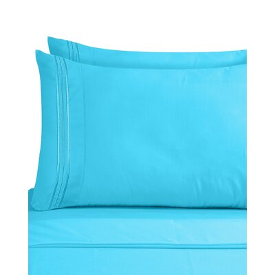 Lizzie 1800 Thread Count Pillow Case Size: King, Color: Beach Blue