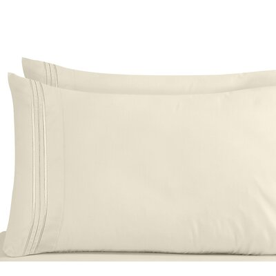 Lizzie 1800 Thread Count Pillow Case Size: King, Color: Beige