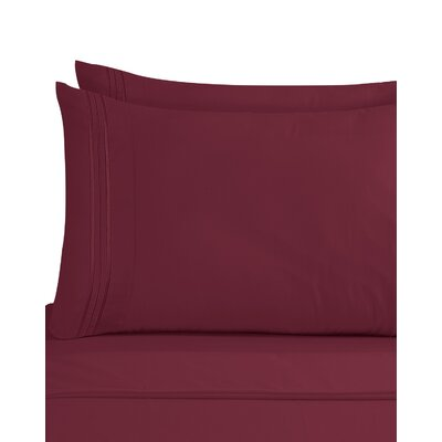 Lizzie 1800 Thread Count Pillow Case Size: King, Color: Burgundy