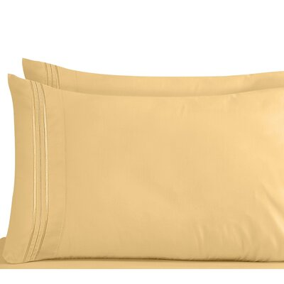 Lizzie 1800 Thread Count Pillow Case Size: Standard, Color: Camel