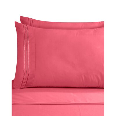 Lizzie 1800 Thread Count Pillow Case Size: King, Color: Coral Pink