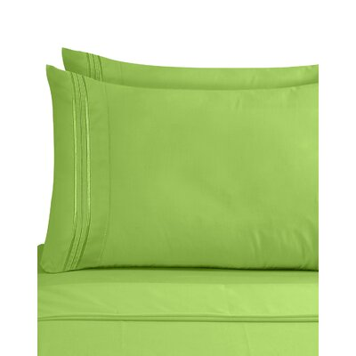 Lizzie 1800 Thread Count Pillow Case Size: Standard, Color: Garden Green
