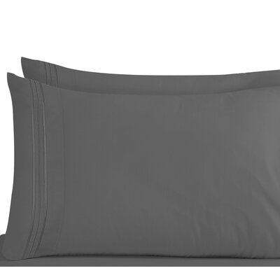 Conway 1800 Thread Count Pillow Case Size: Standard, Color: Charcoal Gray
