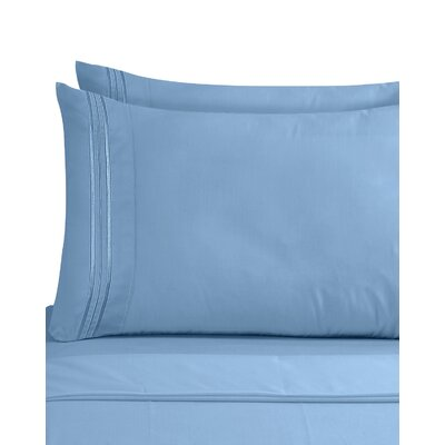 Lizzie 1800 Thread Count Pillow Case Size: King, Color: Blue Heaven