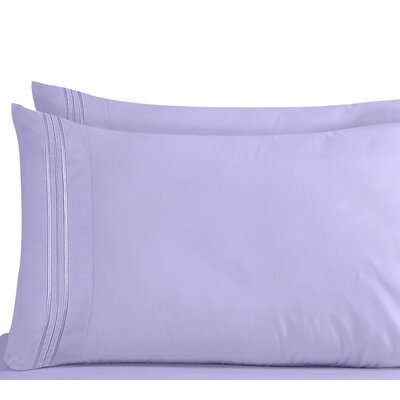 Lizzie 1800 Thread Count Pillow Case Size: Standard, Color: Lavender