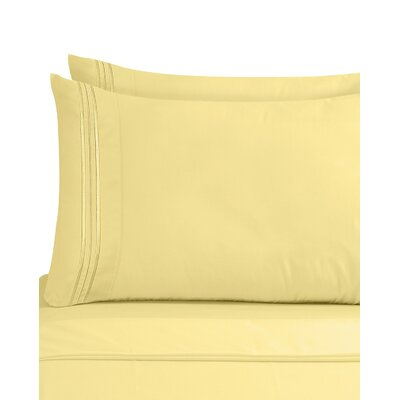 Lizzie 1800 Thread Count Pillow Case Size: King, Color: Mellow Yellow