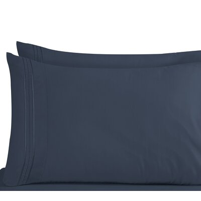 Conway 1800 Thread Count Pillow Case Size: King, Color: Navy Blue