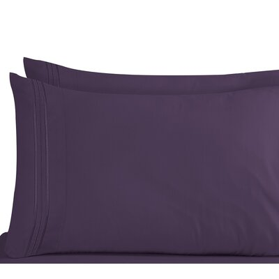 Lizzie 1800 Thread Count Pillow Case Size: King, Color: Purple
