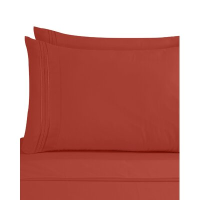 Lizzie 1800 Thread Count Pillow Case Size: King, Color: Orange Rust