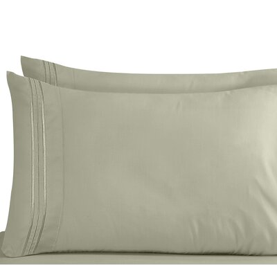 Lizzie 1800 Thread Count Pillow Case Size: King, Color: Sage Green