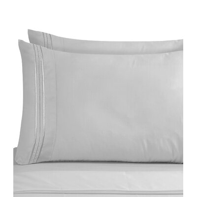 Lizzie 1800 Thread Count Pillow Case Size: King, Color: Silver
