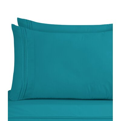 Lizzie 1800 Thread Count Pillow Case Size: Standard, Color: Teal