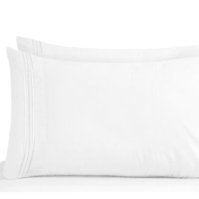 Lizzie 1800 Thread Count Pillow Case Size: Standard, Color: White