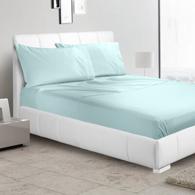 Verna 1800 Thread Count Sheet Size: King, Color: Light Blue