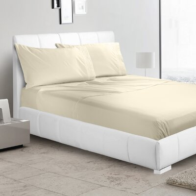 Verna 1800 Thread Count Sheet Size: Full, Color: Beige